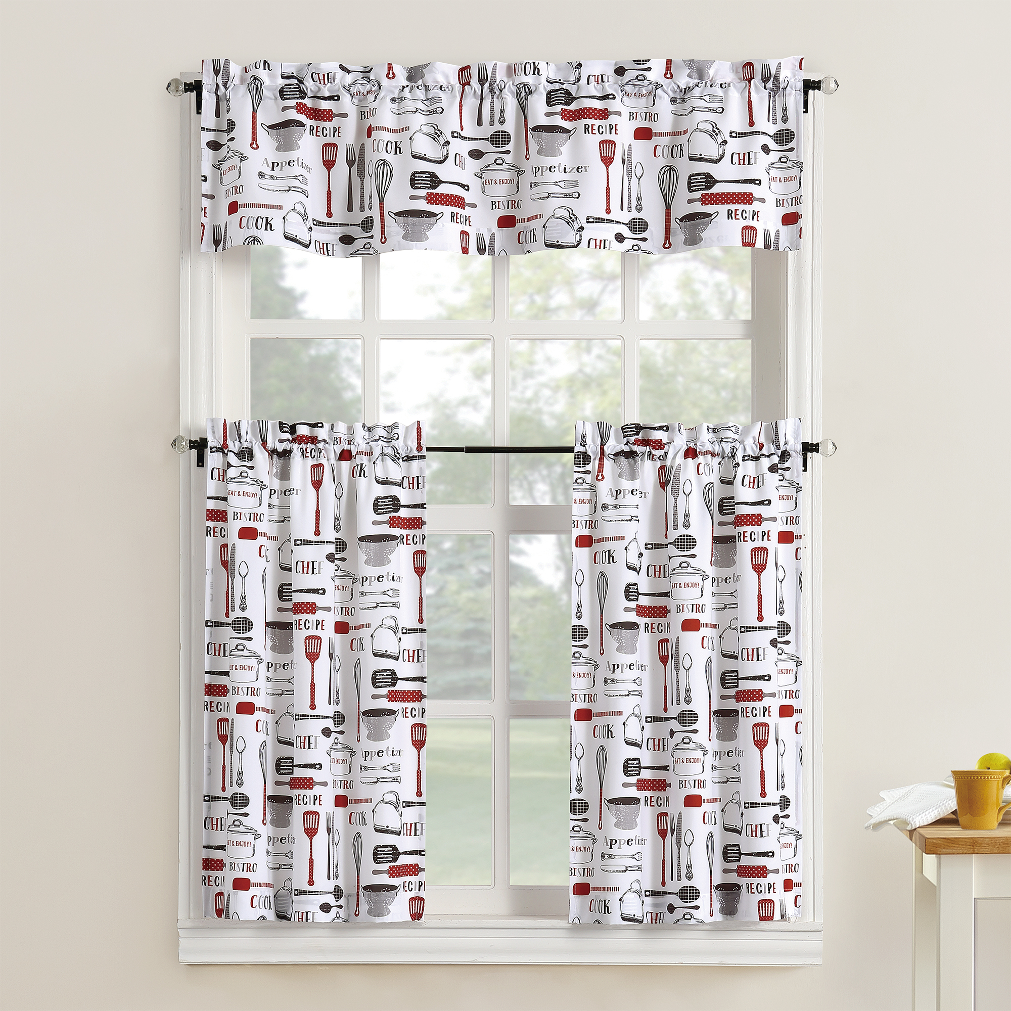 kitchen curtain sets free standing units mainstays bistro 3 piece tier and valance set