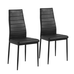 Black Parsons Chair Dining Room Reupholstery Cost Chairs Mainstays Set Of 2 Faux Leather