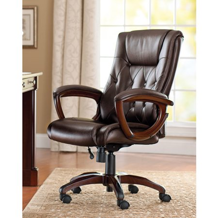 wood and leather executive office chairs creeper that turns into a chair better homes gardens bonded walmart com