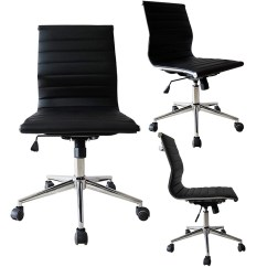 Office Chair Without Arms Swivel Executive Armless Desk Chairs 2xhome Black Contemporary Modern Ergonomic Mid Back Pu Leather No Rest Tilt Adjustable Height