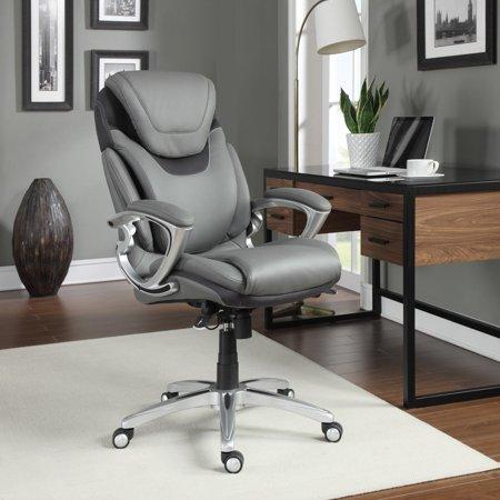 leather executive office chair tulle covers wedding serta air health wellness light grey