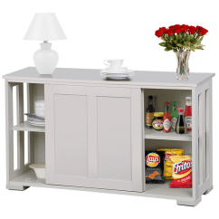 Kitchen Buffet Hutch Omega Cabinets Stackable Sideboard Storage Cabinet With Sliding Door Dining Room Furniture Antique White