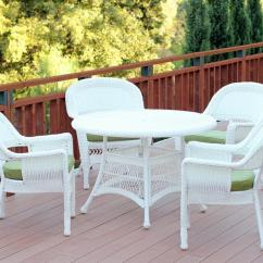 White Wicker Chairs And Table Black Metal Furniture 5 Piece Resin Chair Patio Dining Set Green Cushions