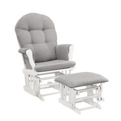 Walmart Glider Chair Custom Camping Chairs Angel Line Windsor And Ottoman White Finish Gray Cushions Com
