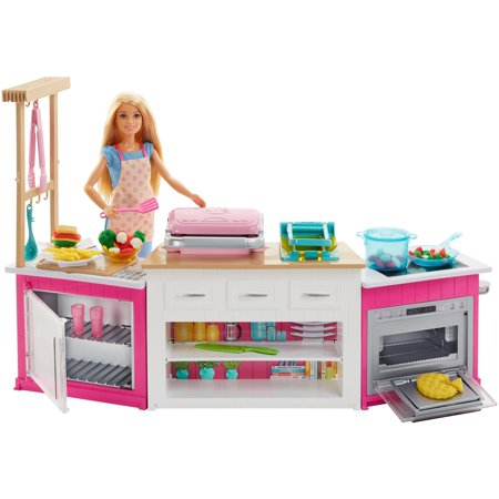 barbie kitchen playset unit led lights ultimate cooking baking with chef doll walmart com