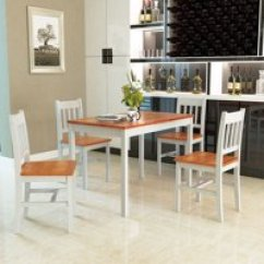 Table And Chairs With Bench How To Make A Bean Bag Chair Tutorial Dining Room Sets Walmart Com Product Image Costway 5pcs Pine Wood Dinette Set 4 Home Kitchen Furniture
