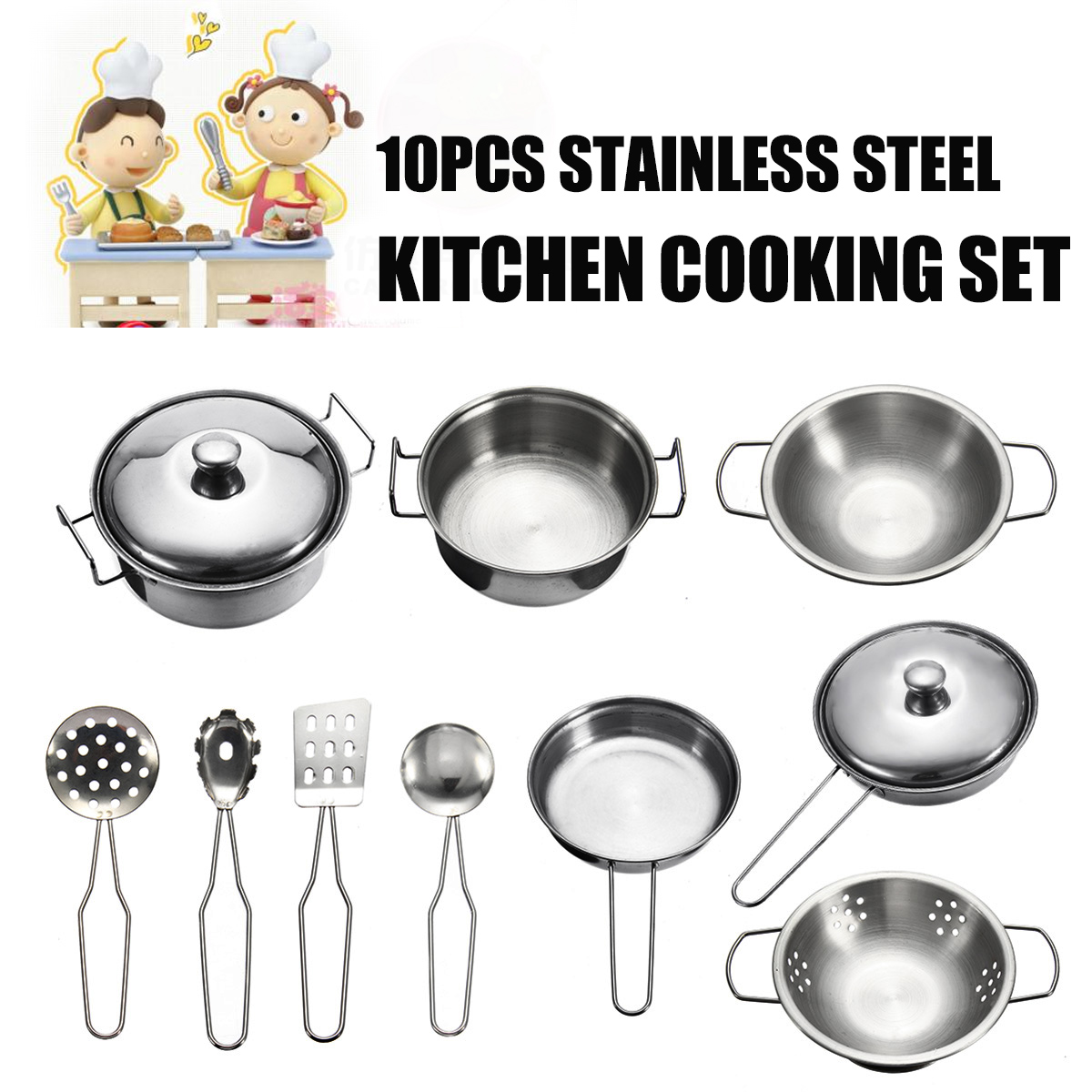 kids kitchen toys ceramic tiles for sets 10pcs set play house funny cookware cooking pots pans chef pretend educational toy