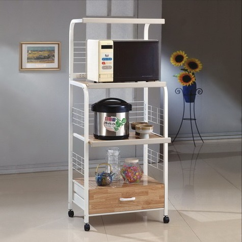 kitchen racks tiled floors microwave cart with casters white