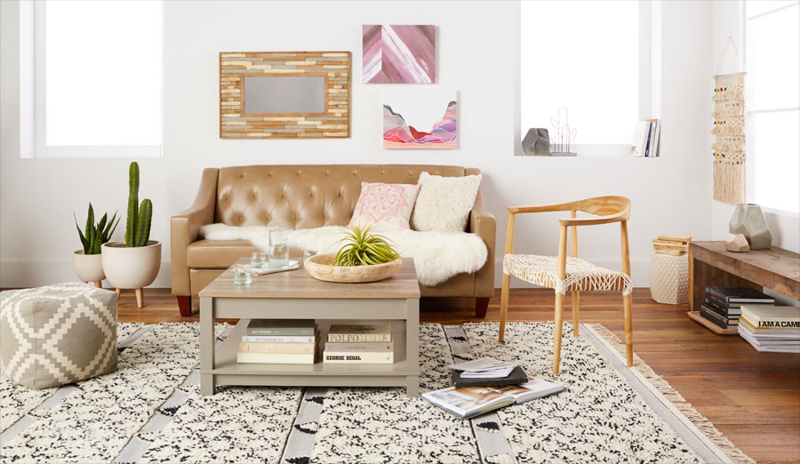 bohemian style living room window curtains for bring boho home 3 easy decorating ideas walmart com with leather sofa coffee table accent chair and rug