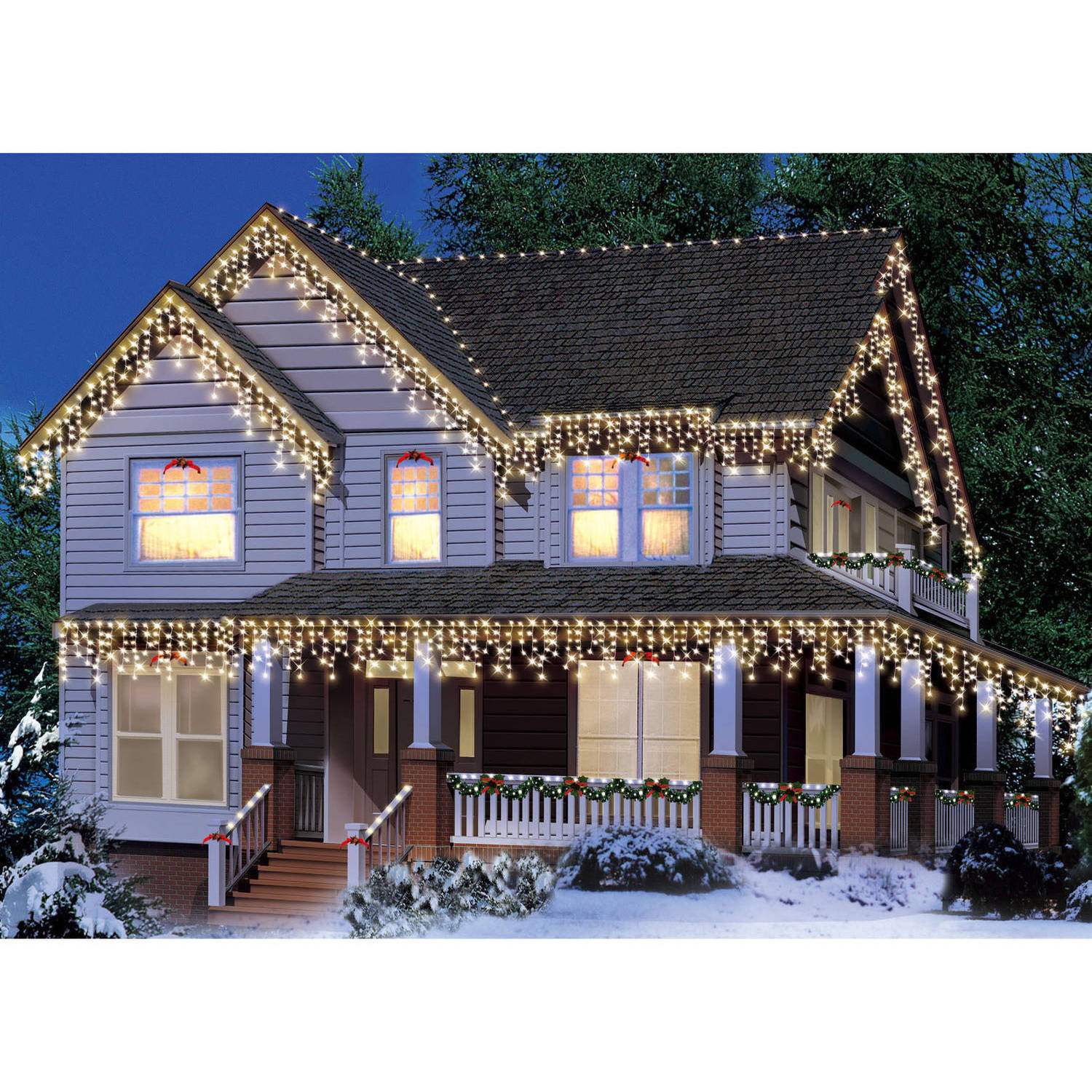hight resolution of holiday time 300 count icicle christmas lights white wire