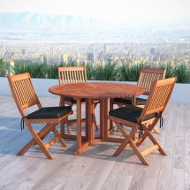 Corliving Miramar Cinnamon Brown Hardwood Outdoor Folding