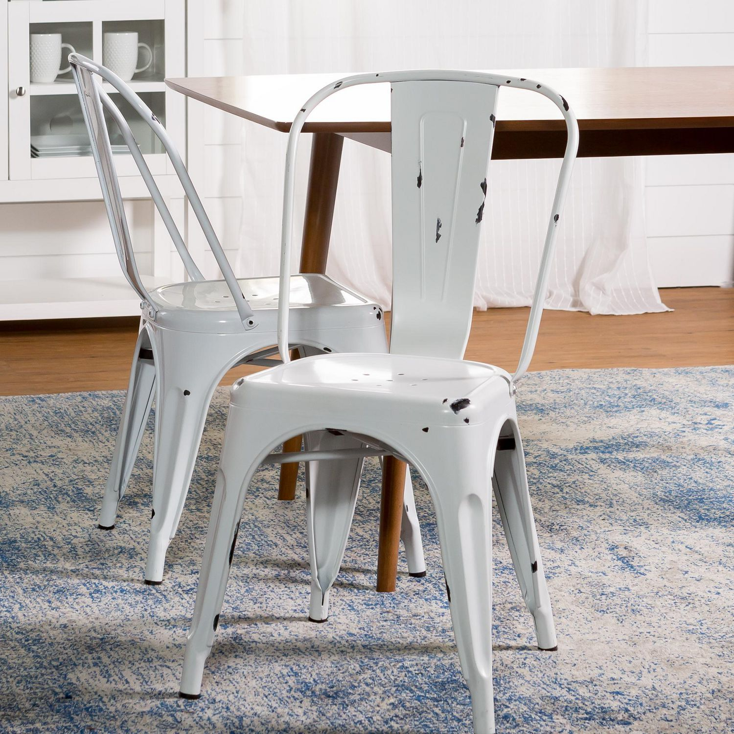 White Bistro Chairs We Furniture Walker Edison Antique White Stackable Metal Café Bistro Chair