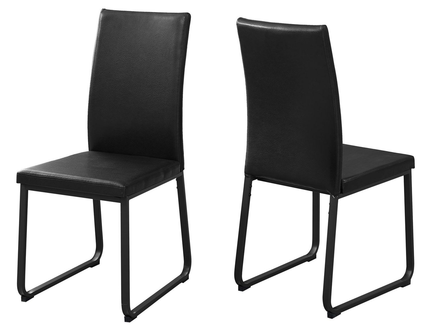Black Leather Dining Chairs Monarch Specialties Black Leather Look Dining Chair