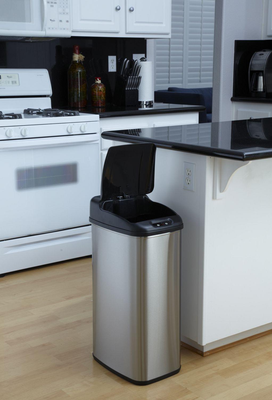 tall kitchen bin designs of small modular nine stars motion sensor slim touchless 13 2 gallon trash can walmart canada