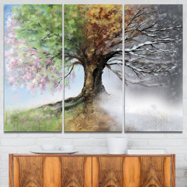 Design Art Tree With Four Seasons Painting Canvas