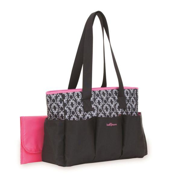 Baby Boom 7-pocket Tote Black With Pink Trim Diaper Bag Canada