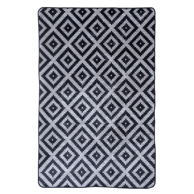 dixx tapis motif en geometrique labryrinthe noir blanc