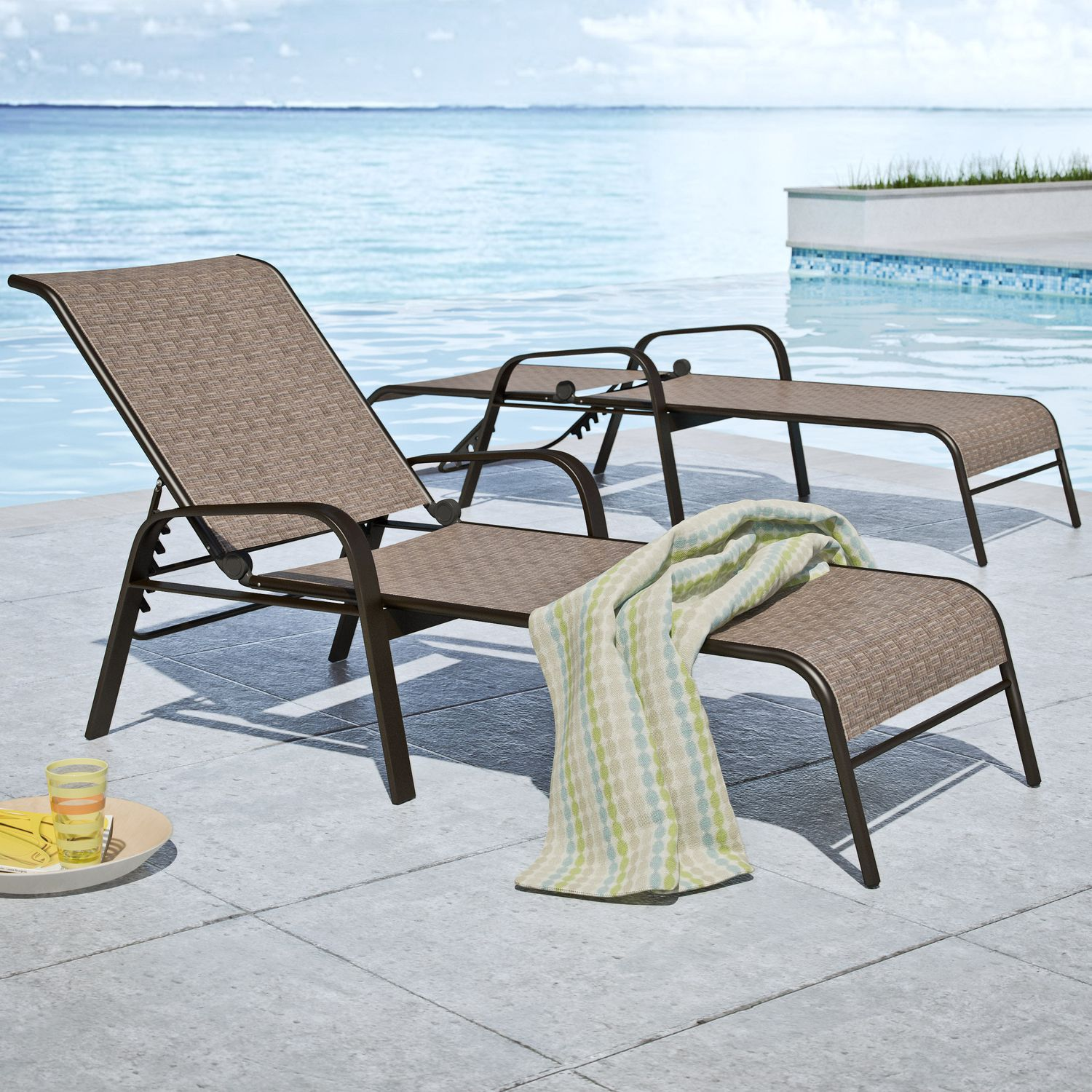 Outside Lounge Chairs Corliving Brown Reclining Patio Lounge Chairs