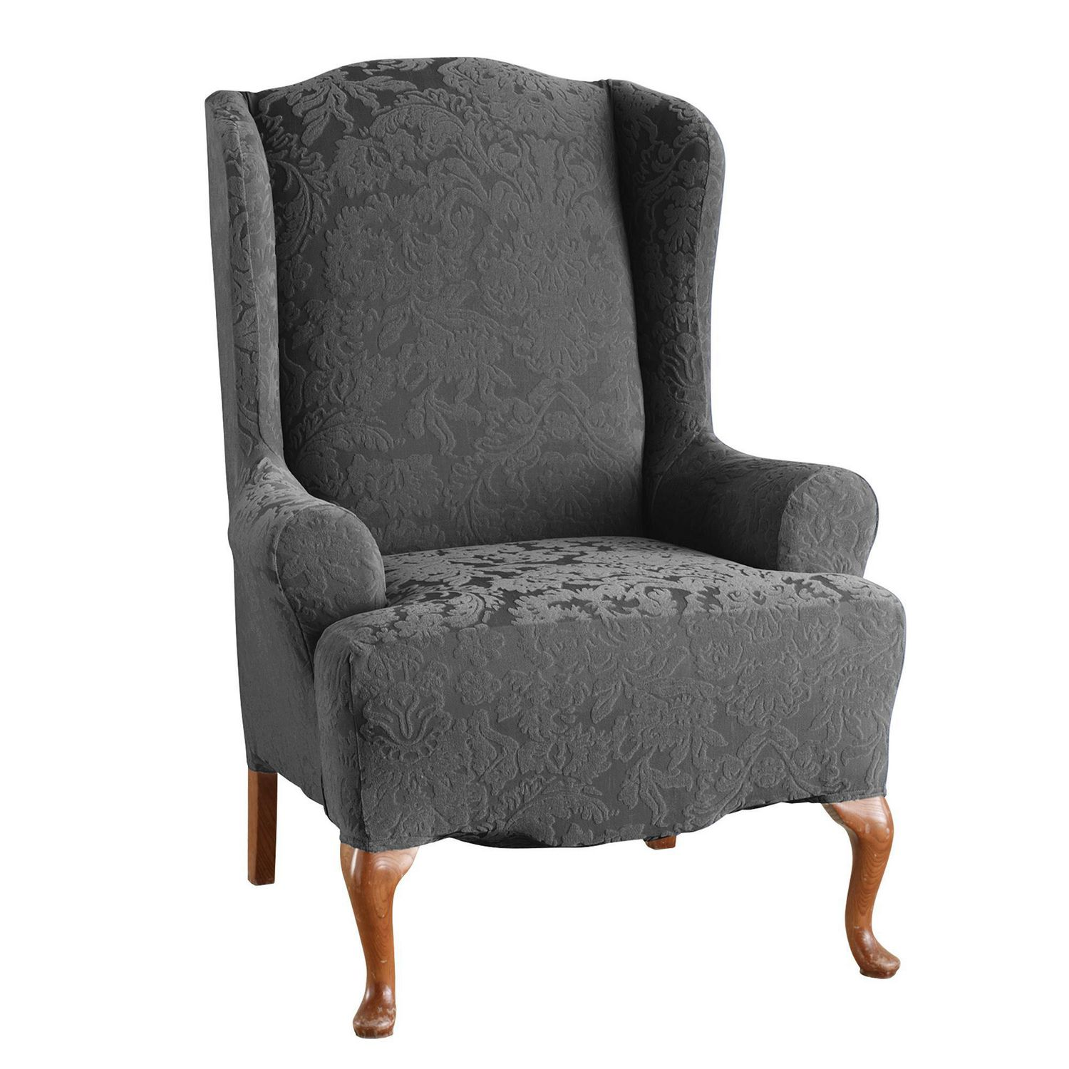 Damask Chair Sure Fit Jacquard Damask Stretch Wing Chair Slipcover