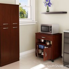 Cherry Kitchen Cart Brushed Nickel Faucet With Sprayer South Shore Fiesta Microwave On Wheels Walmart Canada