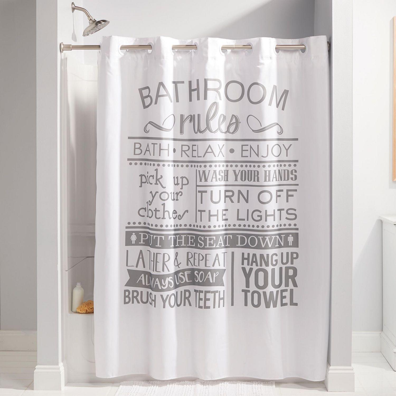 hookless brand 3 in 1 bathroom rules shower curtain multi