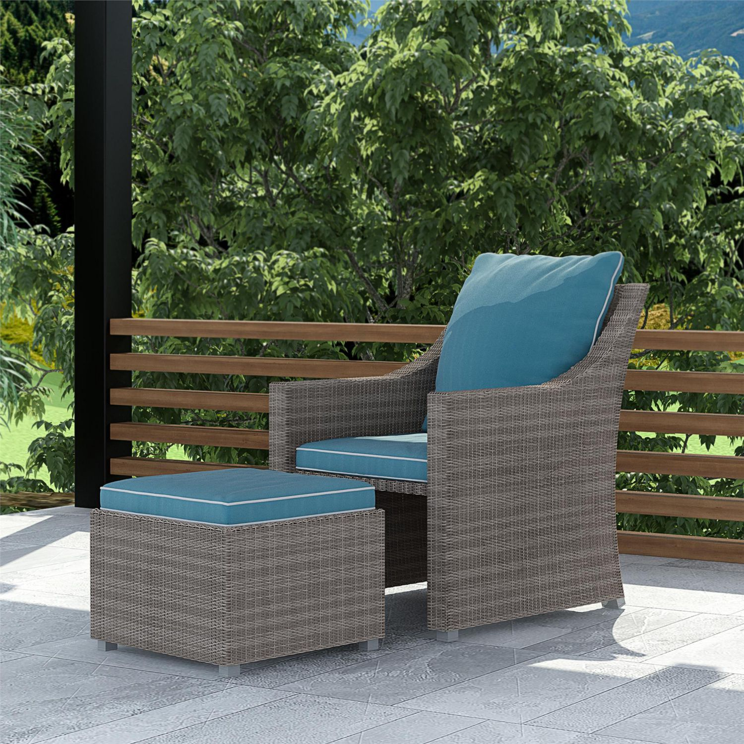 cosco outdoor 2 piece patio set lounge chair multifunctional ottoman table gray wicker teal blue cushions