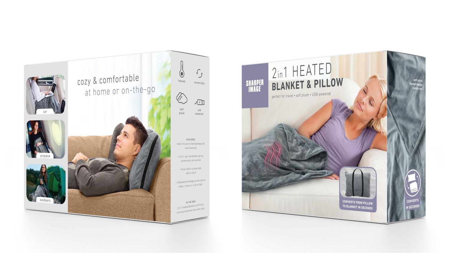 sharper image 2 in 1 heated blanket and