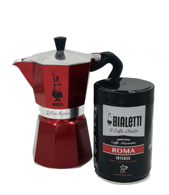 cafetiere moka express rouge de bialetti 6 tasses avec boite a cafe moka roma