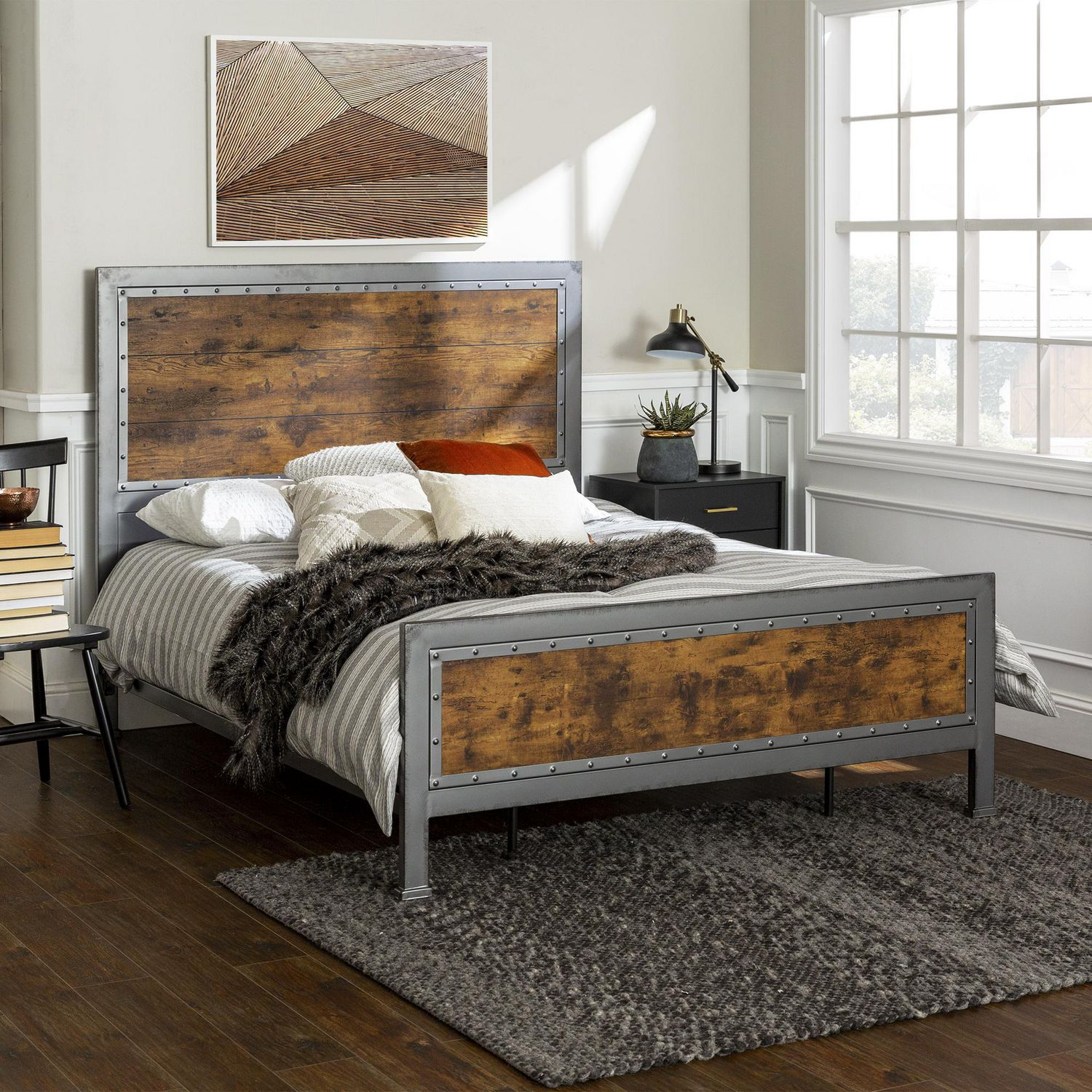manor park rustic industrial metal queen bed frame and headboard multiple finishes