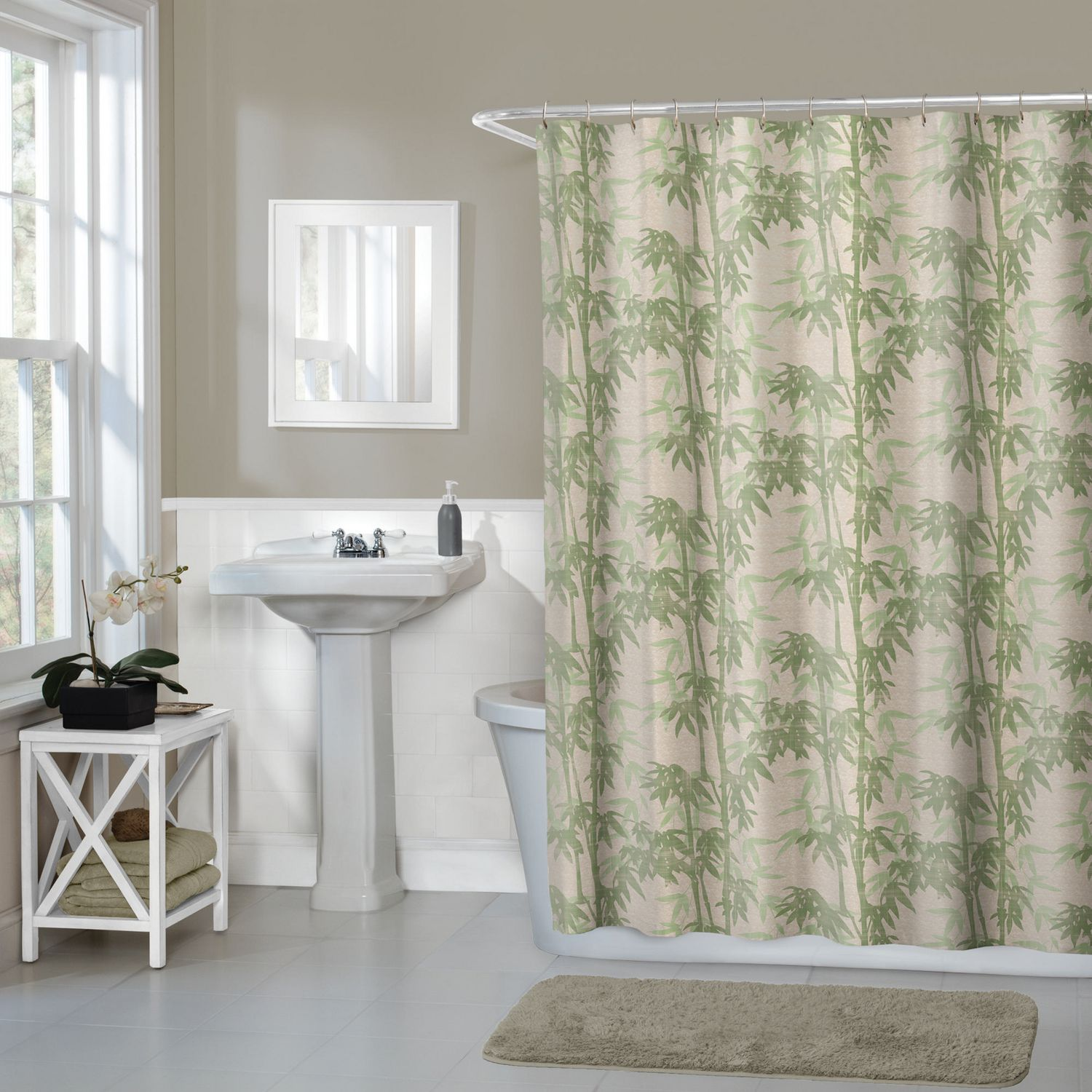 Hometrends Home Trends Bamboo Floral Fabric Shower Curtain