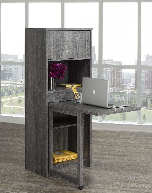 Multi Tier Bookcase With Fold Down Desk Grey Walmart Canada