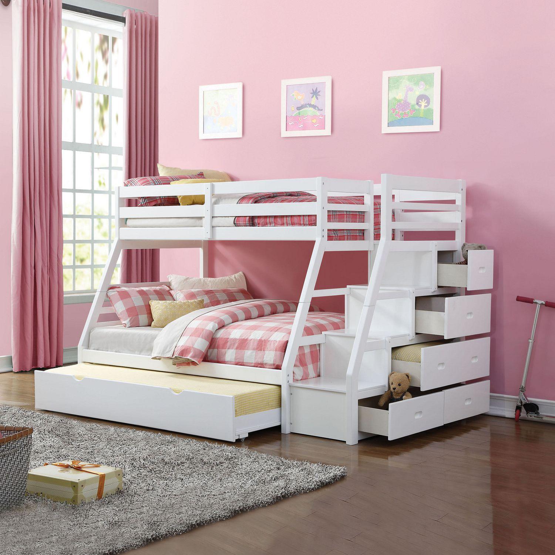 lit superpose gigogne jason acme simple et double avec rangement et escalier fini blanc