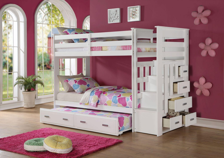 lit superpose gigogne allentown acme simple avec rangement et escalier fini blanc