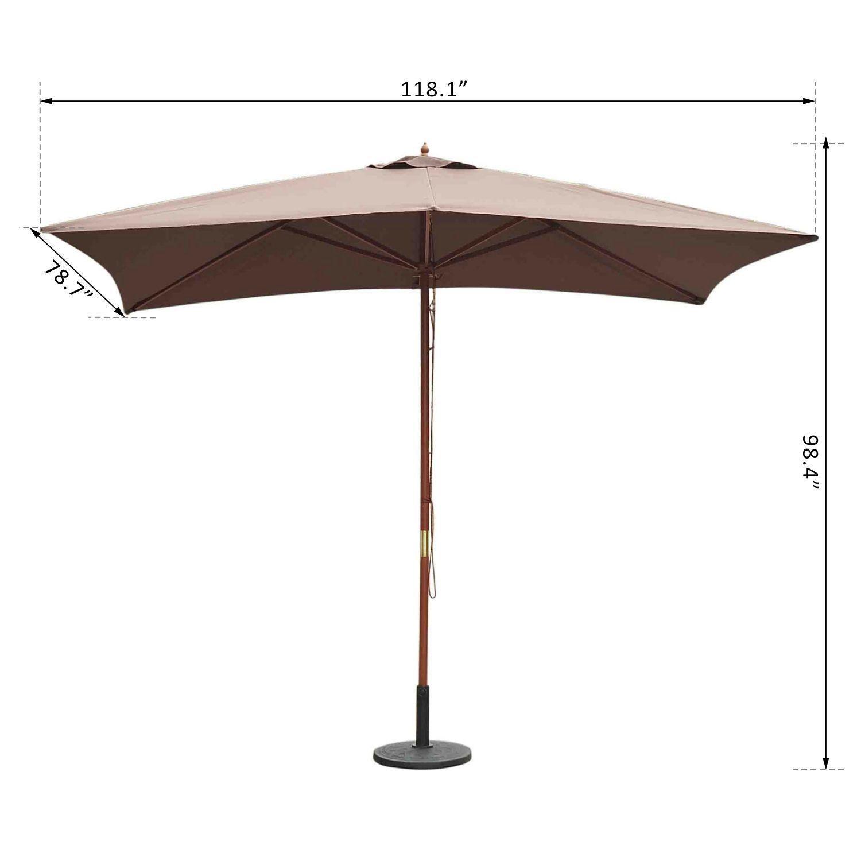 outsunny wooden rectangle patio umbrella