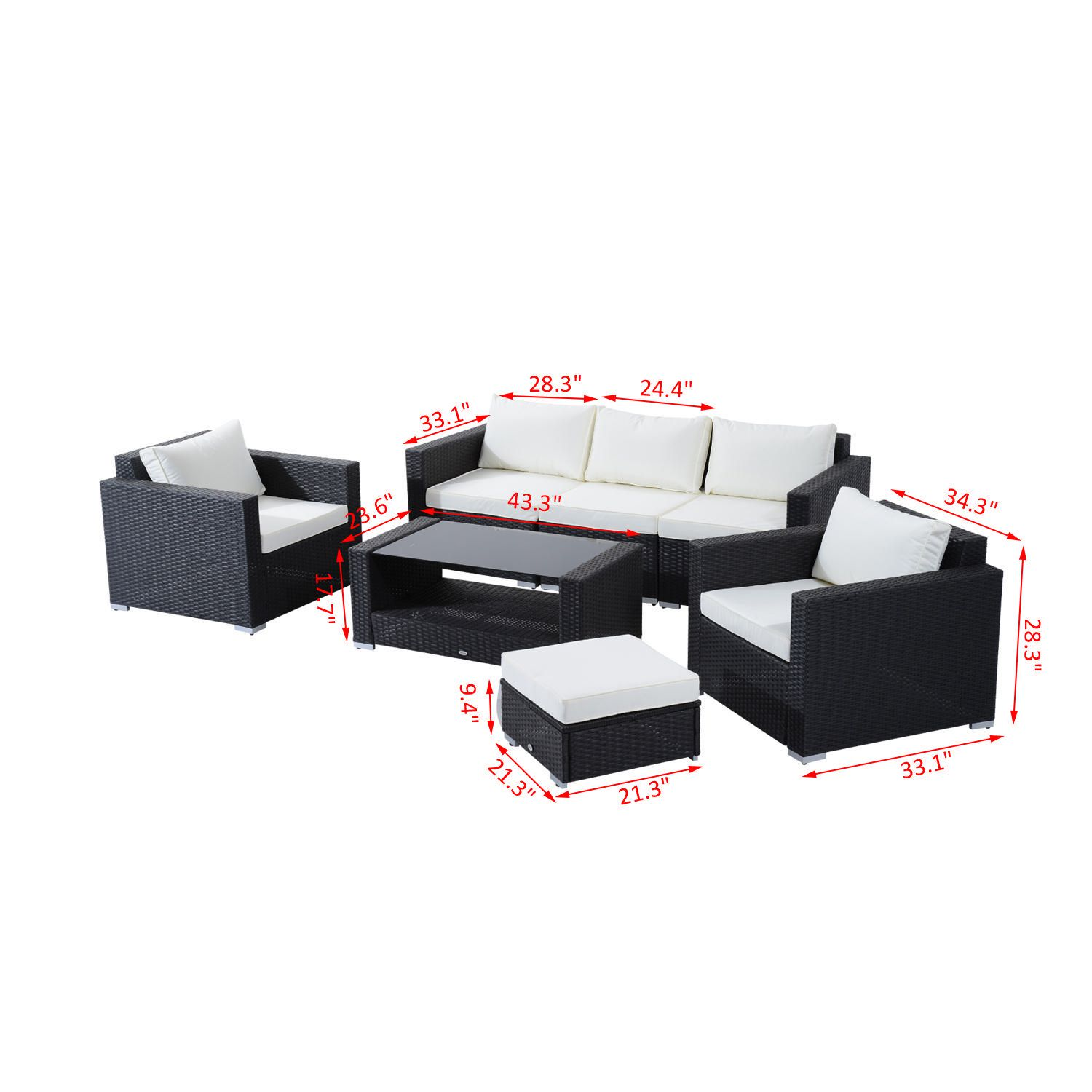 outsunny 7pc rattan outdoor patio furniture set
