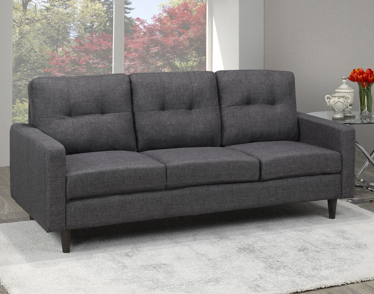sofa gray color black leather loveseat and recliner brassex 3 seater tufted grey walmart canada
