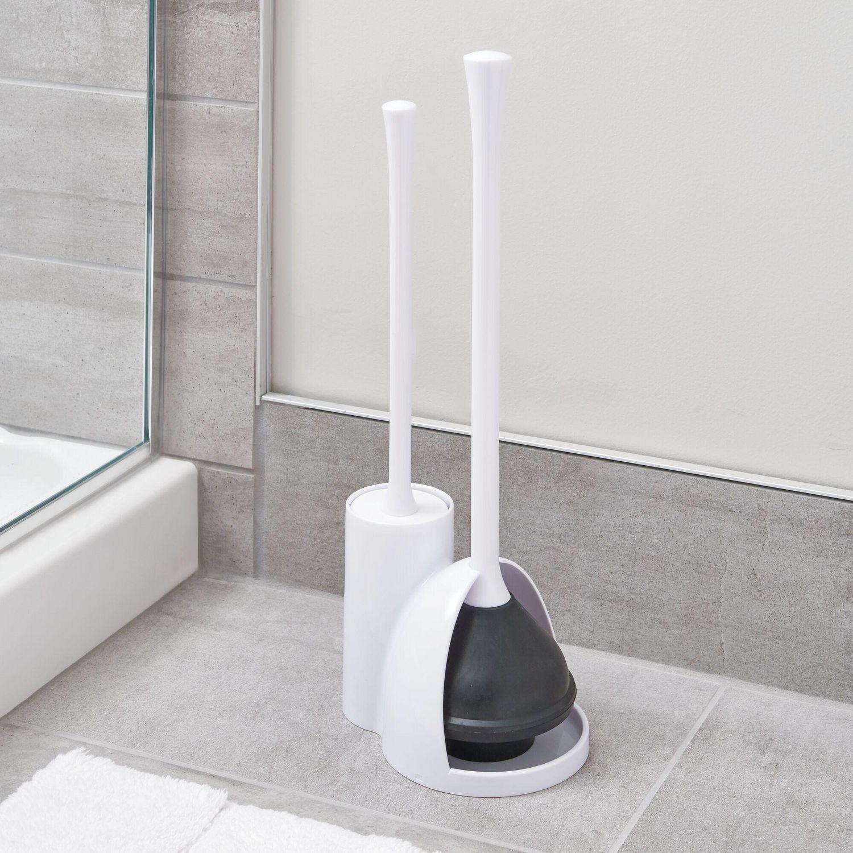 mainstays una valet wc balayette a toilettes et ventouse wc en plastique pour le menage lot wc hygienique discret pour la salle de bain blanc
