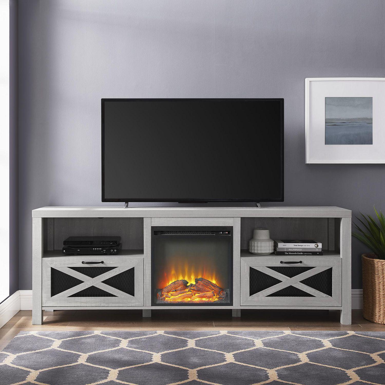 meuble de television style campagnard rustique avec foyer de 177 8 cm 70 po gris pierre