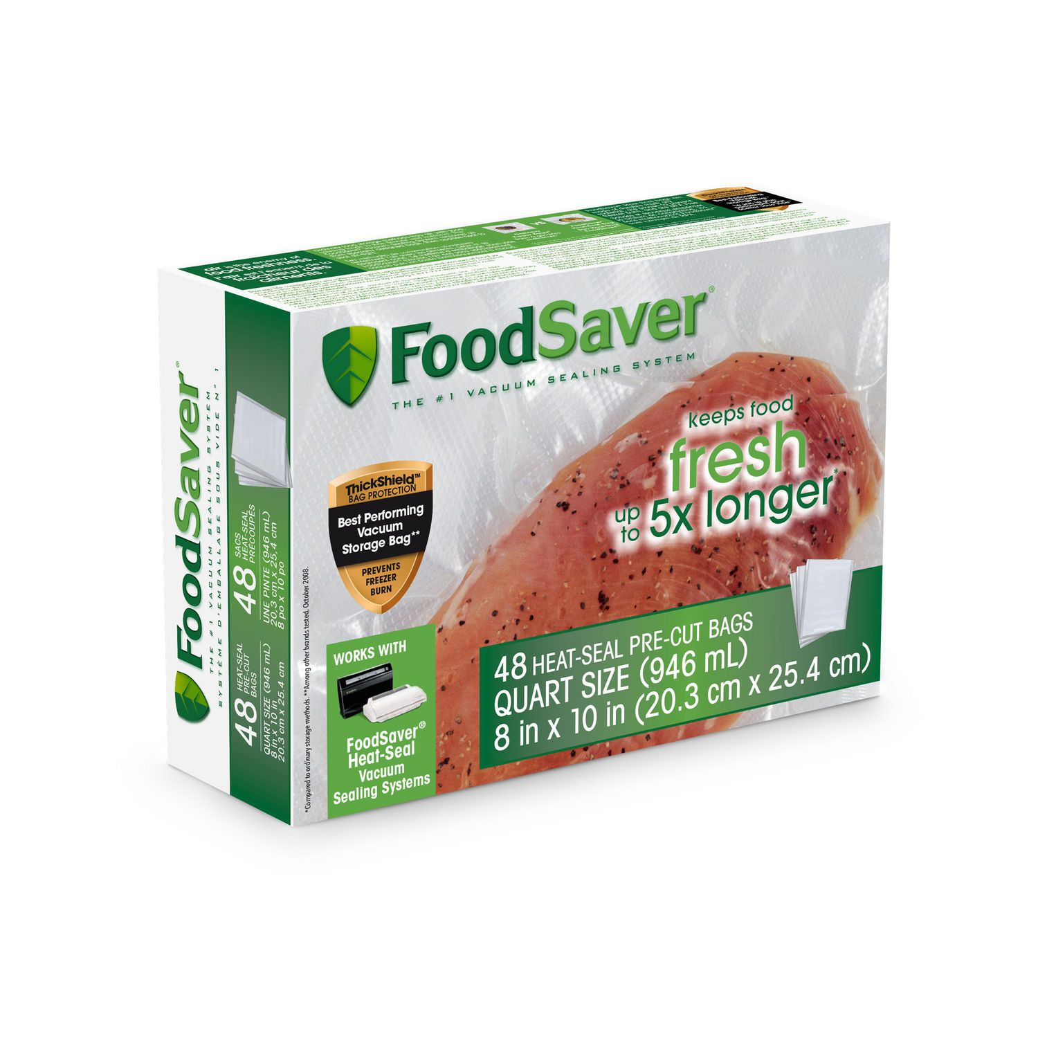 foodsaver 1 quart precut vacuum seal bags with bpa free multilayer construction for food preservation 48 count