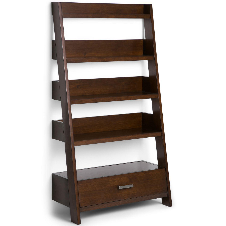 Wyndenhall Harriet Solid Wood Ladder Shelf In Medium Auburn Brown