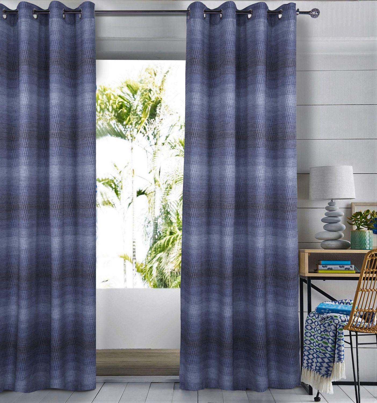 mode caricia bree rideau a œillets geometrique jacquard a rayures ombrees 54 x 84 bleu