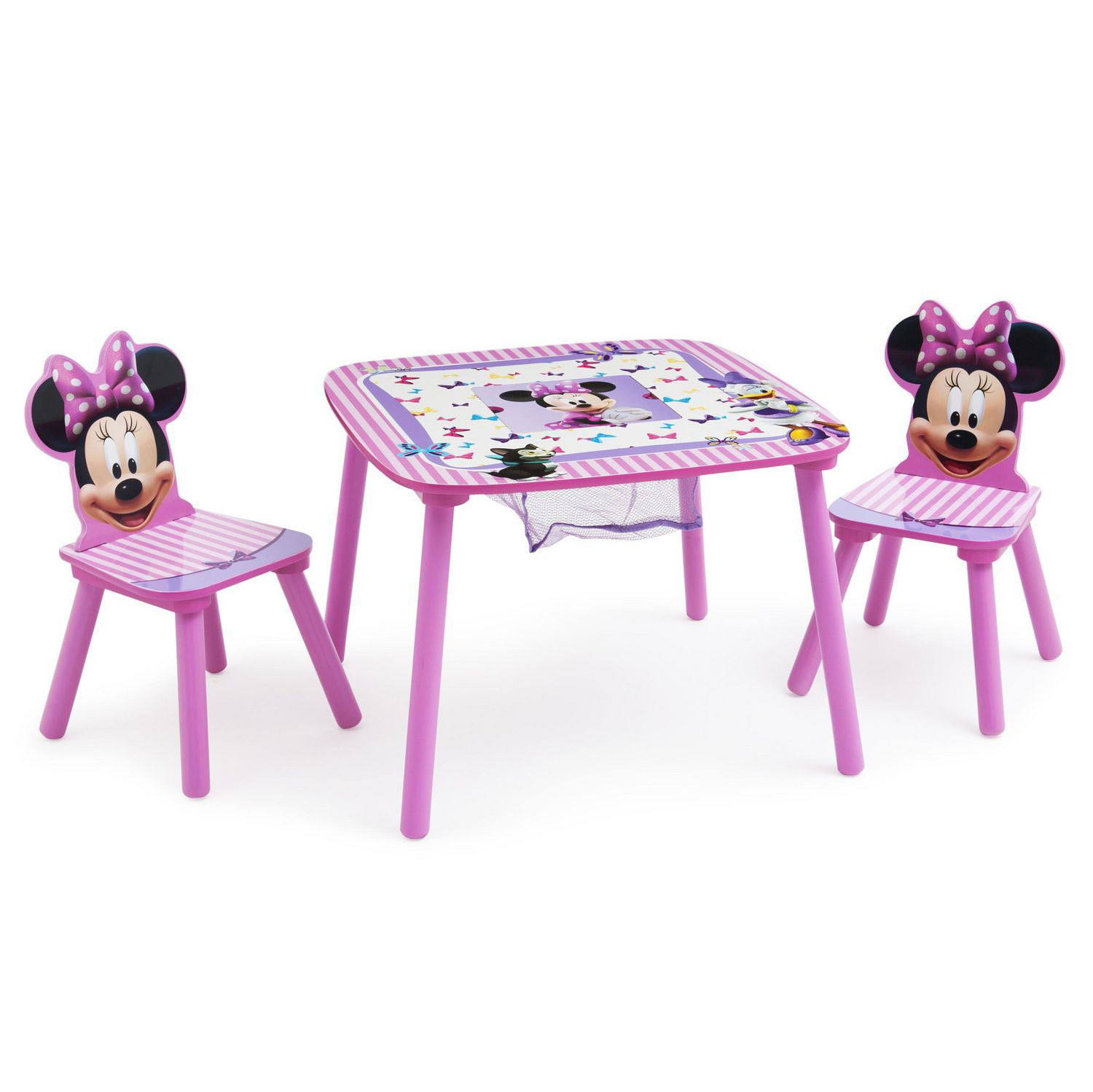 ensemble de table et chaises minnie mouse de disney avec rangement par delta children