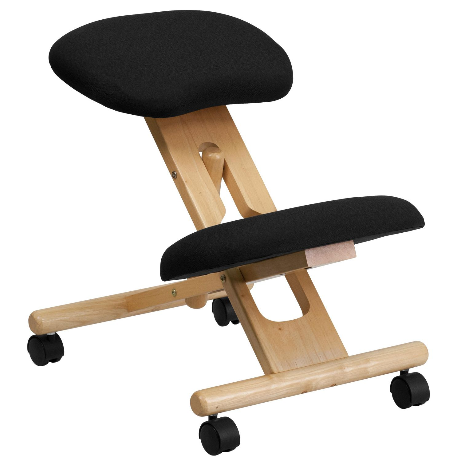 Mobile Chair Mobile Wooden Ergonomic Kneeling Chair In Black Fabric