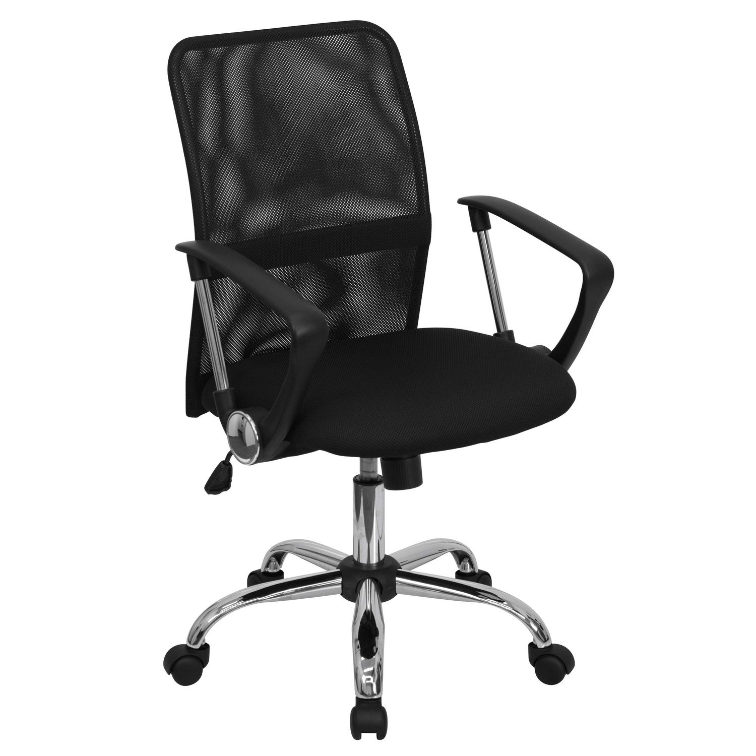 Task Chairs With Arms Mid Back Black Mesh Swivel Task Chair With Lumbar Support Band And Arms