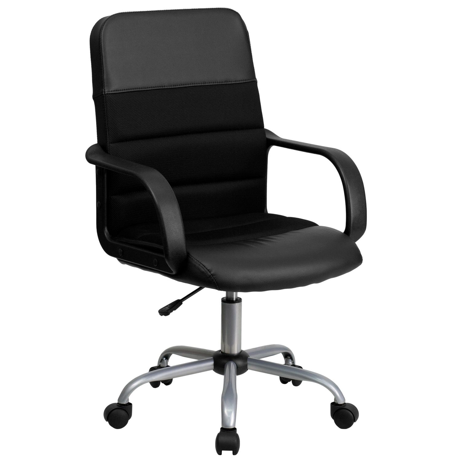 Task Chairs With Arms Mid Back Black Leather And Mesh Swivel Task Chair With Arms