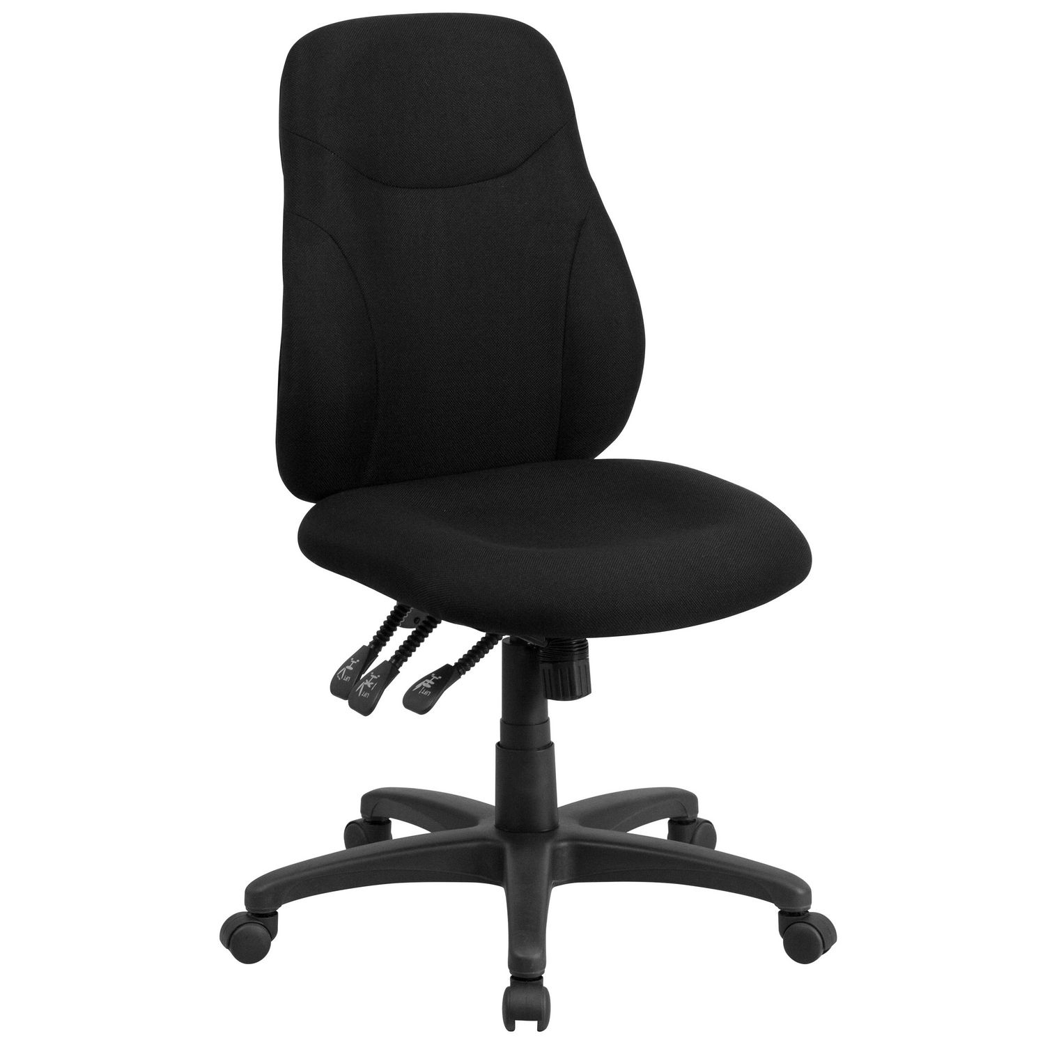 How To Adjust Office Chair Mid Back Black Fabric Multifunction Swivel Ergonomic Task Office Chair