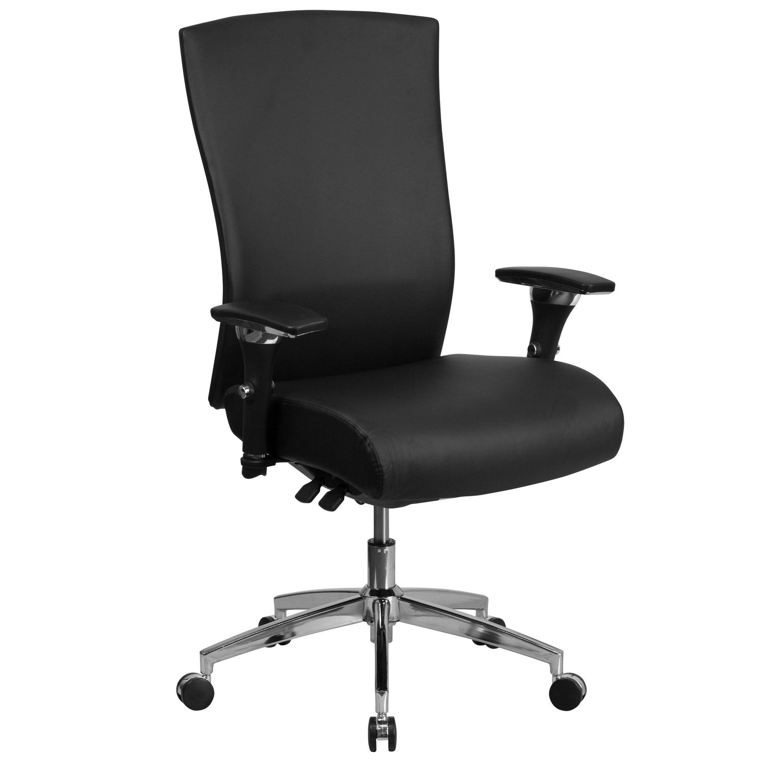 24 Hour Office Chairs Hercules Series 24 7 Intensive Use 300 Lb Rated Black Leather Multifunction Ergonomic Office Chair With Seat Slider