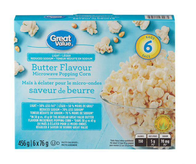 great value reduced sodium light butter flavour microwave popcorn