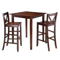 Kitchen Table Stools Standard Cabinets Winsome Kingsgate 3 Piece Dining With 2 Bar V Back Chairs 94378 Walmart Canada