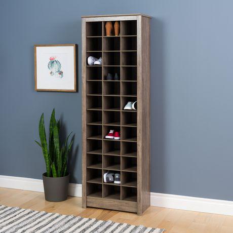 armoire de rangement prepac pour chaussures en gris vieilli